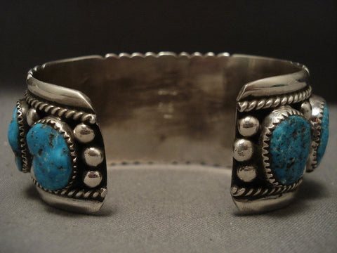 One Of The Finest Old Zuni Turquoise Native American Jewelry Silver Bracelet-Nativo Arts