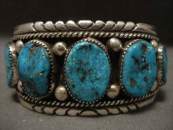 One Of The Finest Old Zuni Turquoise Native American Jewelry Silver Bracelet