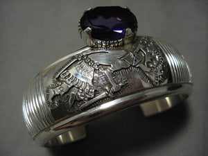 One Of The Finest Vintage Native American Navajo Amethyst Sterling Silver Bracelet Old-Nativo Arts