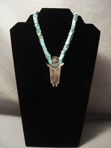 ONE OF THE FINEST VINTAGE NAVAJO CHOKER GREEN TURQUOISE NECKLACE-Nativo Arts