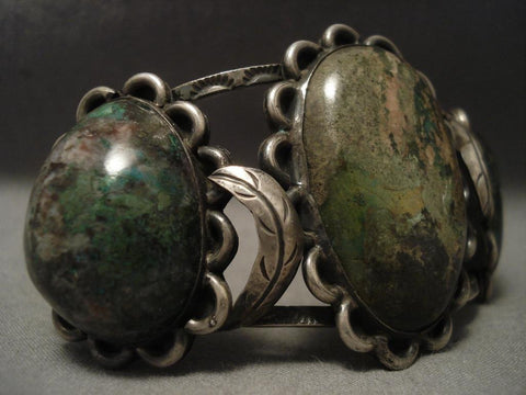 One Of The Finest Vintage Navajo Chrysocolla Native American Jewelry Silver Bracelet-Nativo Arts