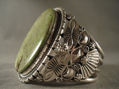 One Of The Finest Vintage Navajo Gaspeite Native American Jewelry Silver Bracelet-Nativo Arts