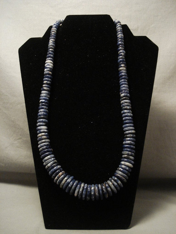 One Of The Finest Vintage Navajo Lapis Native American Jewelry Silver Necklace-Nativo Arts