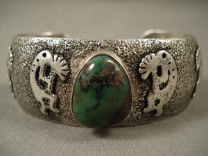 One Of The Finest Vintage Navajo Native American Jewelry jewelry Lester Craig Kokopelli Turquoise Bracelet-Nativo Arts