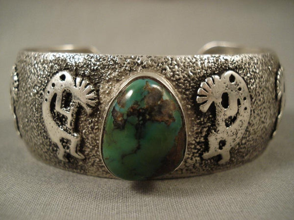One Of The Finest Vintage Navajo Native American Jewelry jewelry Lester Craig Kokopelli Turquoise Bracelet