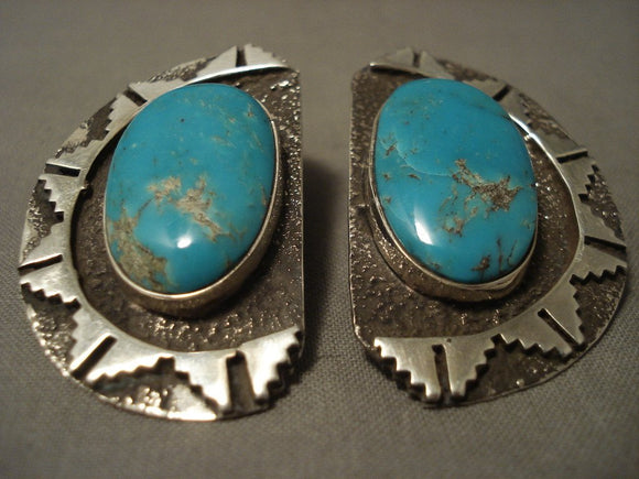 One Of The Finest Vintage Navajo Tom Jackson Turquoise Native American Jewelry Silver Earrings-Nativo Arts