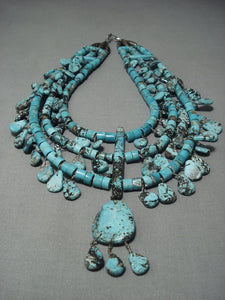 One Of The Finest Vintage Navajo Turquoise Heishi Sterling Native American Jewelry Silver Necklace-Nativo Arts