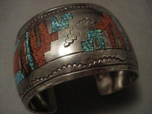 ONE OF THE HEAVIEST OLDER GEOMETRIC INLAY NAVAJO SILVER BRACELET OLD-Nativo Arts