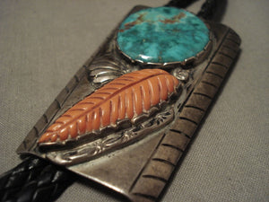 One Of The Largest Corals Ever On A Vintage Navajo Native American Jewelry jewelry Turquoise Bolo Tie-Nativo Arts