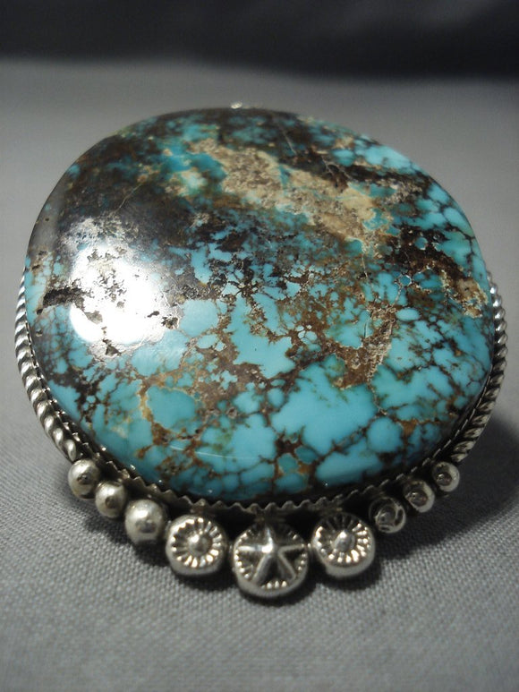 One Of The Largest Ever Navajo Royston Turquoise Sterling Native American Jewelry Silver Ring-Nativo Arts