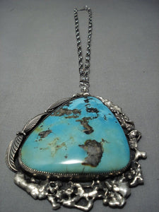 One Of The Largest Ever Vintage Navajo Native American Jewelry jewelry Turquoise Sterling Silver Necklace-Nativo Arts