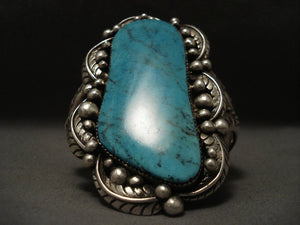 One Of The Largest Old Navajo Blue Diamond Turquoise Native American Jewelry Silver Bracelet-Nativo Arts
