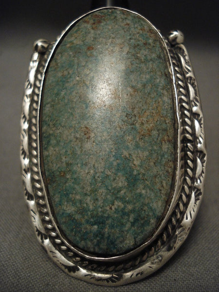 One Of The Largest Old Navajo Blue Jay Turquoise Native American Jewelry Silver Ring