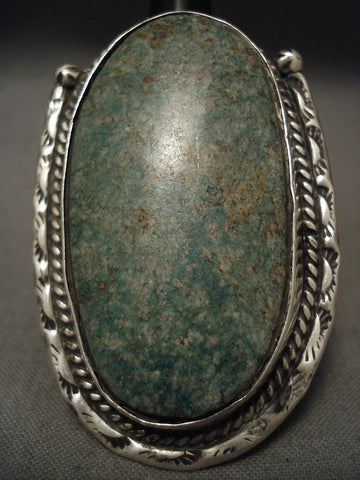 One Of The Largest Old Navajo Blue Jay Turquoise Native American Jewelry Silver Ring-Nativo Arts