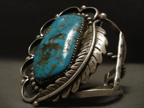 One Of The Largest Old Navajo Persian Turquyoise Native American Jewelry Silver Bracelet-Nativo Arts