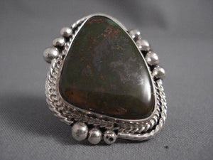 One Of The Largest Vintage Kee Joe (d.) Turquoise Native American Jewelry Silver Ring-Nativo Arts