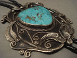 One Of The Largest Vintage Navajo Blue Turquoise Native American Jewelry Silver Bolo Tie Old-Nativo Arts