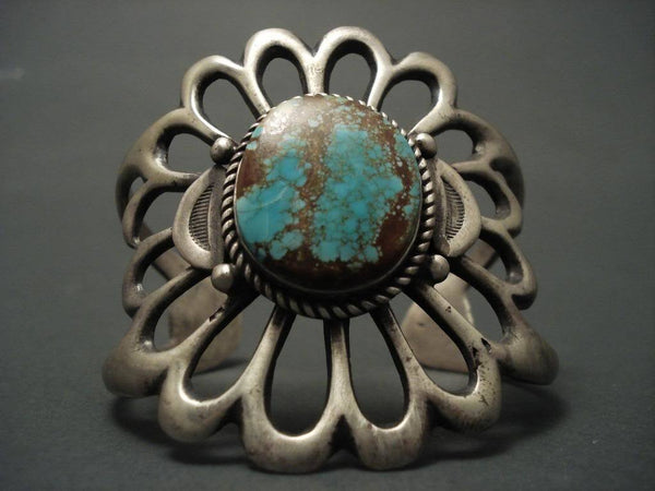 One Of The Largest Vintage Navajo Casted Turquoise Native American Jewelry Silver Bracelet