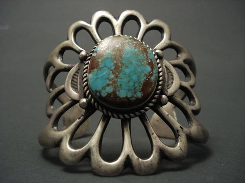One Of The Largest Vintage Navajo Casted Turquoise Native American Jewelry Silver Bracelet-Nativo Arts