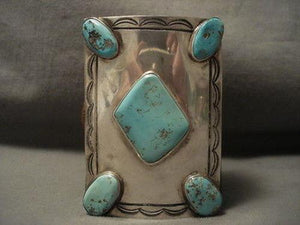 ONE OF THE LARGEST VINTAGE NAVAJO EASTER BLUE TURQUOISE SILVER KETOH BRACELET-Nativo Arts