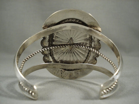 One Of The Largest Vintage Navajo Gaspeite Concho Native American Jewelry Silver Bracelet-Nativo Arts