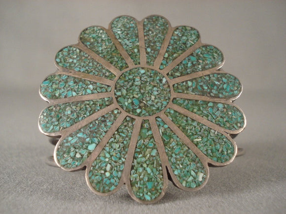 One Of The Largest Vintage Navajo Green Turquoise Inlay Native American Jewelry Silver Bracelet-Nativo Arts