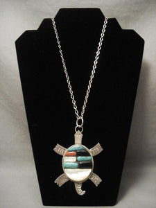 One Of The Largest Vintage Navajo Native American Jewelry jewelry Turtle Inlaid Necklace-Nativo Arts