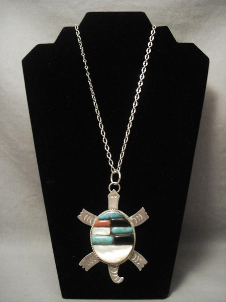 One Of The Largest Vintage Navajo Native American Jewelry jewelry Turtle Inlaid Necklace