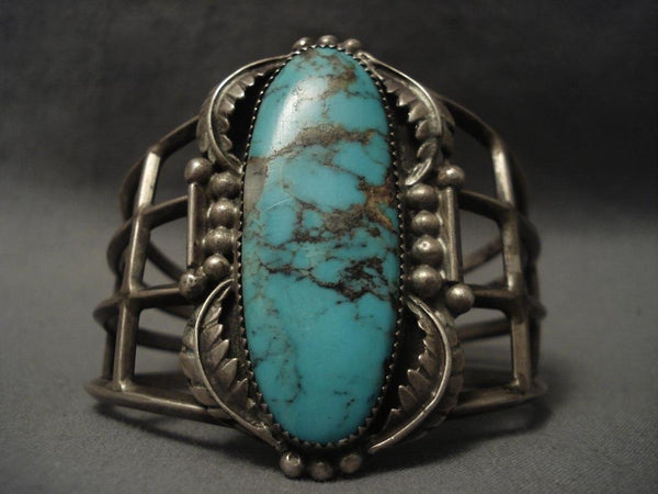 One Of The Largest Vintage Navajo Number 8 Turquoise Native American Jewelry Silver Bracelet