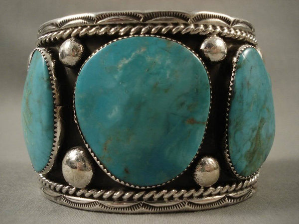 One Of The Largest Vintage Royston Turquoise Native American Jewelry Silver Bracelet