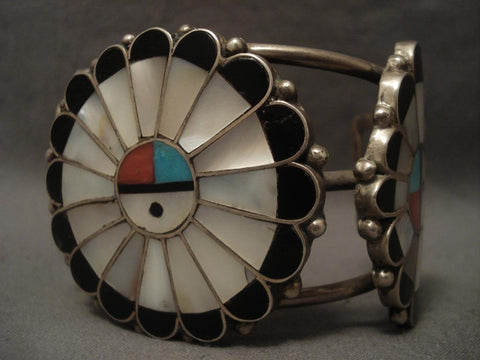 One Of The Largest Vintage Zuni Sunface Native American Jewelry Silver Bracelet-Nativo Arts