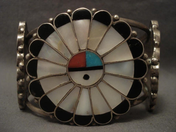 One Of The Largest Vintage Zuni Sunface Native American Jewelry Silver Bracelet