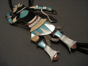 One Of The More Unique Vintage Zuni Eddie Beyuka Snake Dancer Native American Jewelry Silver Bolo Tie-Nativo Arts