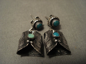 One Of The Most Detailed Ever Vintage Navajo Native American Jewelry jewelry 'Turquoise Vest' Snake Eye Earrings-Nativo Arts