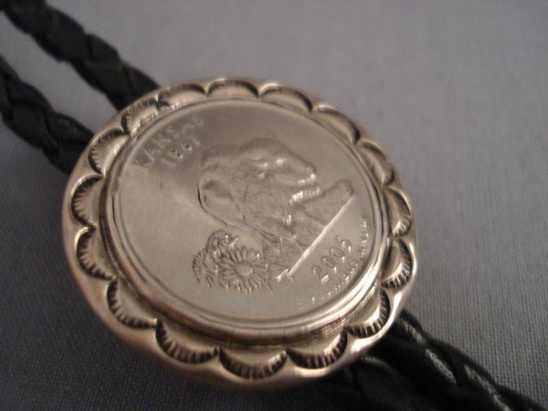 One Of The Most Unique Kee Joe Native American Jewelry Silver Coin Bolo Tie