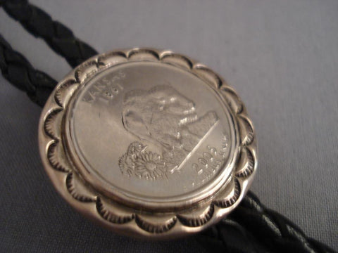 One Of The Most Unique Kee Joe Native American Jewelry Silver Coin Bolo Tie-Nativo Arts