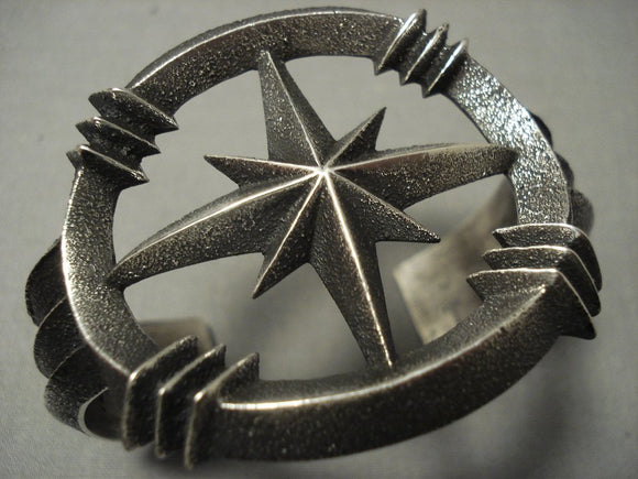 One Of The Most Unique Navajo Aaron Anderson **nothern Star** Native American Jewelry Silver Bracelet-Nativo Arts