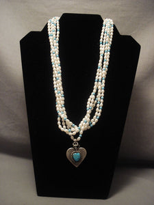 One Of The Most Unique Vintage Navajo kee Joe (d.)* Turquoise Native American Jewelry Silver Necklace-Nativo Arts