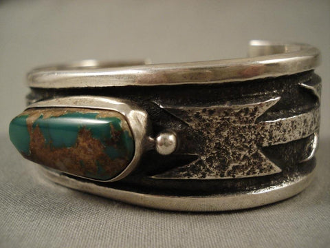 One Of The Most Unique Vintage Navajo Native American Jewelry jewelry Wil Begay Royston Turquoise Bracelet-Nativo Arts