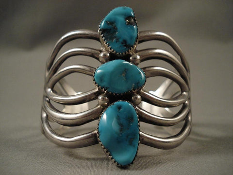 One Of The Most Unique Vintage Navajo Native American Jewelry jewelry Wilson Begay Turquoise Bracelet-Nativo Arts