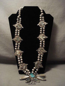 ONE OF THE MOST UNIQUE VINTAGE NAVAJO TURQUOISE SILVER SQUASH BLOSSOM NECKLACE-Nativo Arts