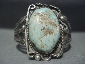 One Of The Oldest #8 Turquoise Stone Vintage Navajo Sterling Native American Jewelry Silver Bracelet-Nativo Arts
