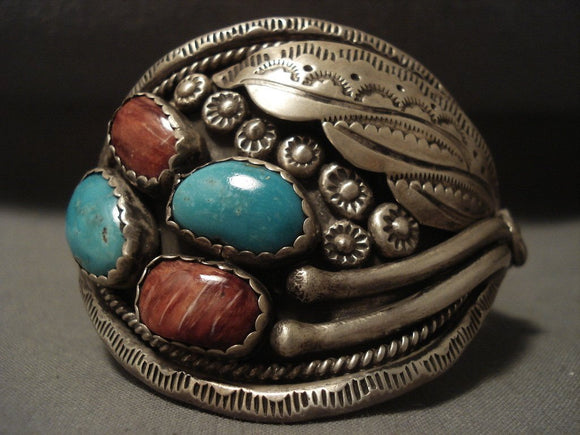 One Of The Oldest Spiny Oyster Vintage Navajo 'Snake' Turquoise Native American Jewelry Silver Bracelet-Nativo Arts