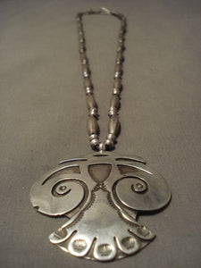 One Of The Oldest Vintage Hopi Native American Jewelry Silver Necklace-Nativo Arts