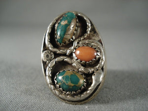 One Of The Oldest Vintage Navajo Snake Green Turquoise Native American Jewelry Silver Coral Ring-Nativo Arts