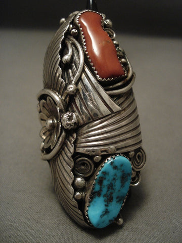 One Of The Tallest 1970's Native American Jewelry Silver Flower Ring-Nativo Arts