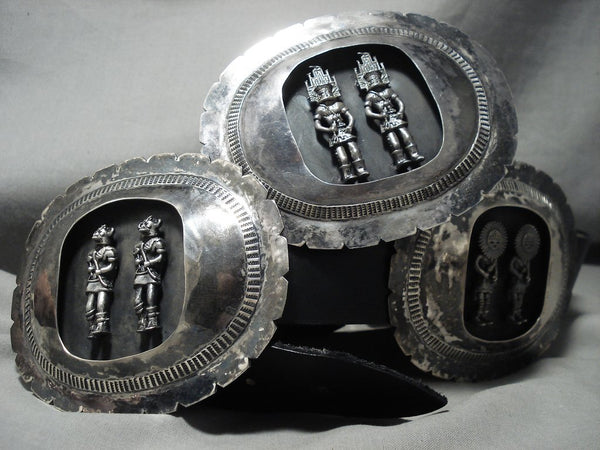 Opulent 979 Grams Vintage Navajo Kachina Native American Jewelry Silver Concho Belt Old-Nativo Arts