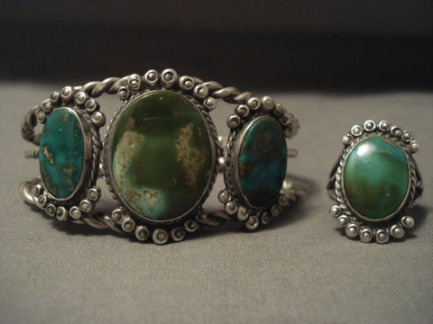 Opulent 'Early Deposit' 1900's Royston Turquoise Native American Jewelry Silver Bracelet Ring Set-Nativo Arts
