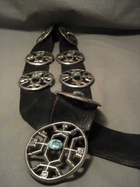Opulent Early & Important Vintage Navajo Yeibichai Turquoise Native American Jewelry Silver Concho Belt