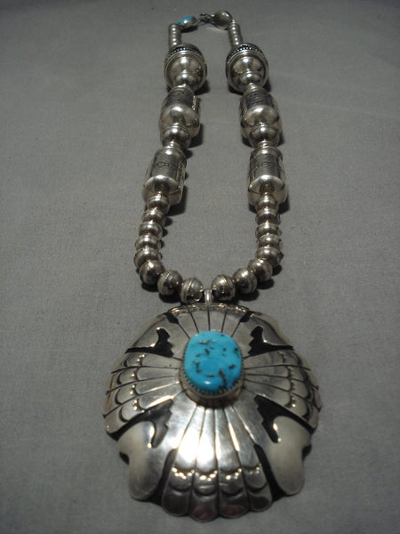Opulent Norm Woody Vintage Native American Navajo Turquoise Sterling Silver Tubule Necklace
